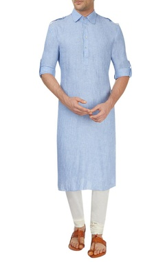 Blue and off-white kurta set