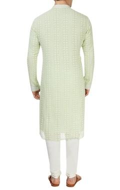 Green and off-white kurta set