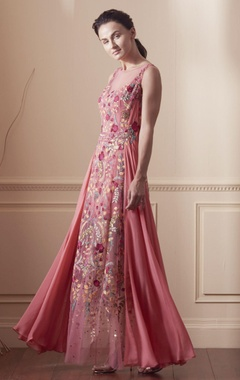 Coral pink draped gown