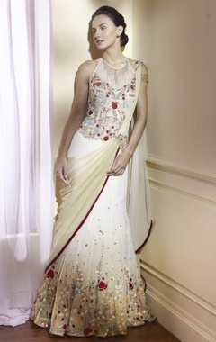 Ivory white sari with embroidery.