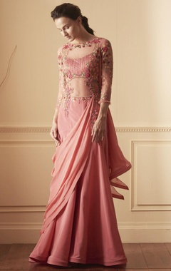 Pink gown with draped trail