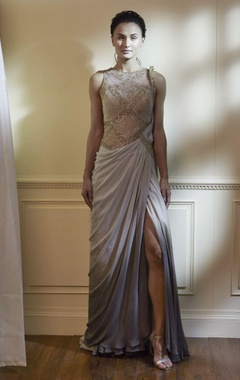 Grey & sage green embroidered sari
