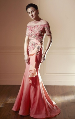 coral pink gown with sequence work