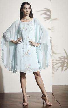 Sky blue floral embroidered kaftan