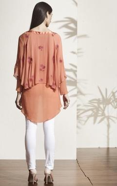 Rust orange high low blouse
