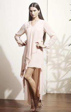 Beige asymmetric style dress