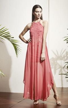 Orange halter style dress