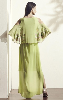 Green embroidered high-low dress