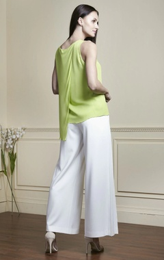 Lime green draped style blouse