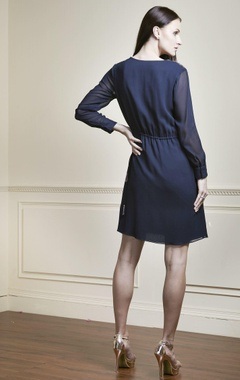 Navy blue dress with white embroidery