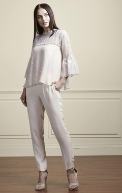 Beige thread embroidered blouse