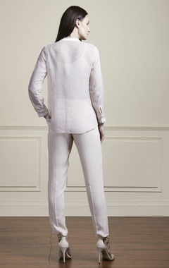 Beige thread embroidered shirt