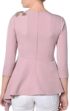 pink embroidered peplum blouse