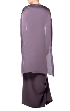 Purple cape crepe dress