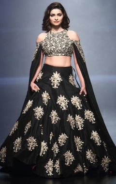 Black embroidered cape & lehenga