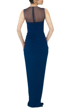 Ink blue faux metal maxi dress