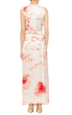 off white satin with red tie and dye blotches straight fit dress