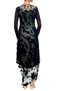 black embroidered kurta with tie and dye jumpsuit