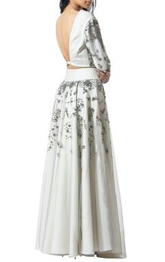 ivory and silver embellished lehenga skirt