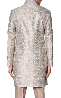 Beige brocade silk sherwani with raw silk churidar