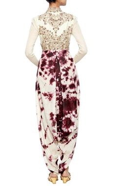 off white dhoti embroidered jumpsuit with violet tie & dye blotches