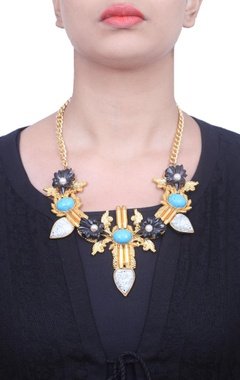 Black floral and turquoise stone necklace