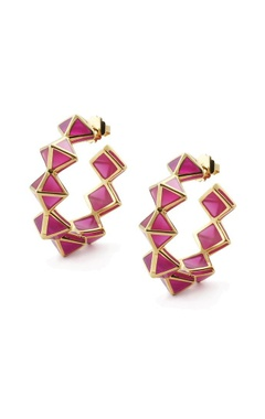 Pink pyramid resin hoop earrings