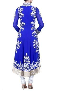 Royal blue floral applique kurta set