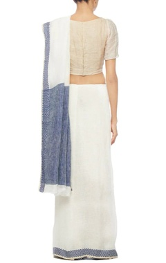 Navy blue and ivory linen sari