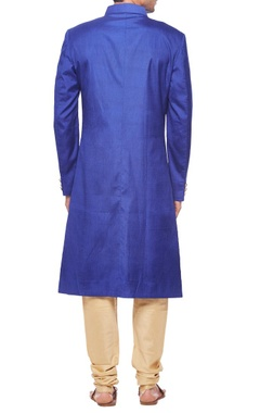 Royal blue pintuck sherwani