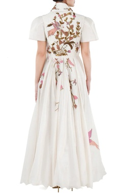 Ivory floral embroidered front open gown