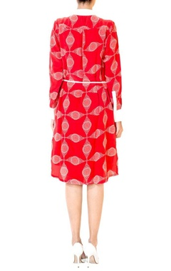 Red circle printed shirt dress
