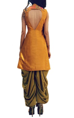 Mustard floral embroidered kurta with olive dhoti pants