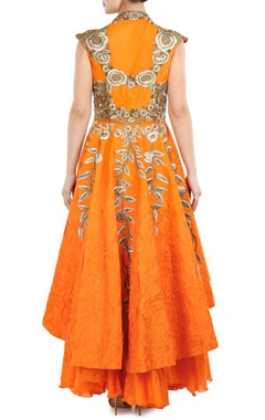 Orange floral zardosi embroidered peplum dress