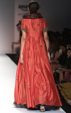 Coral bug embroidered anarkali with pritned scarf
