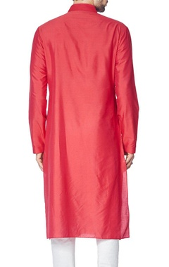 Red cotton silk kurta set