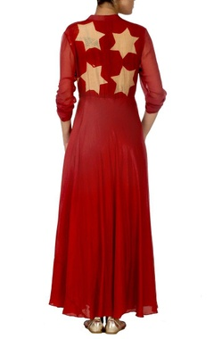 Deep red and beige star printed dress