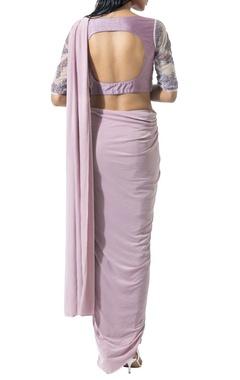 Mauve beaded sari set