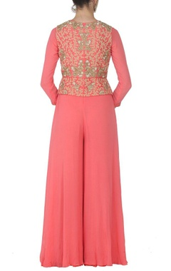 Rose pink jumpsuit with embroidered jacket