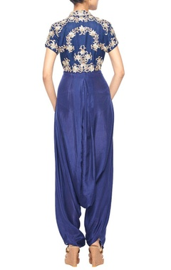 Navy blue dhoti jumpsuit with gold embroidered bolero