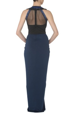 ink blue and black faux metal maxi dress