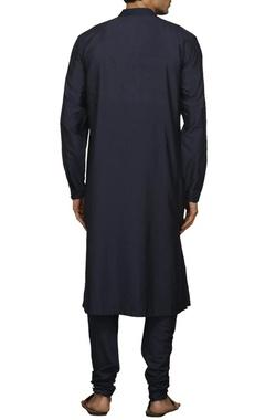 Charcoal blue pleated kurta set