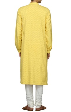 Canary yellow embroidered kurta set