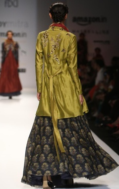 olive embroidered angrakha kurta with indigo printed skirt