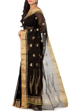 black lotus chanderi sari