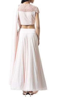 blush cowl draped embellished lehenga set