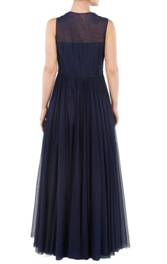 navy blue floral embroidered gown