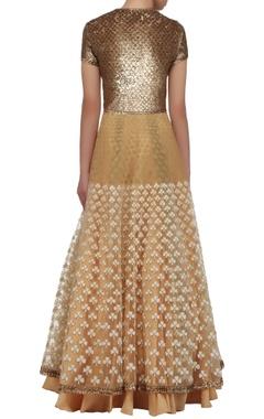 Gold embellished anarkali dress with dupatta