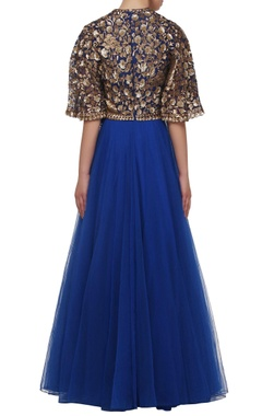 Royal blue embroidered lehenga & blouse