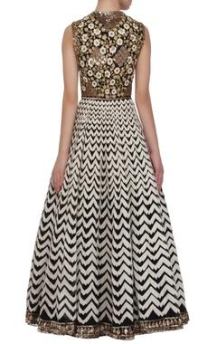 Black, gold & ivory embellished anarkali gown